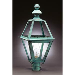 Boston Verdi Gris Tapered Post-Mount Outdoor Lantern