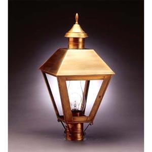Antique Brass Clear Outdoor Post Mount Light