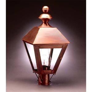 Antique Copper Clear Outdoor Post Mount Lantern