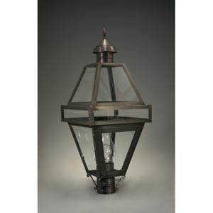 Boston Dark Brass One-Light Outdoor Post Light with Clear Glass