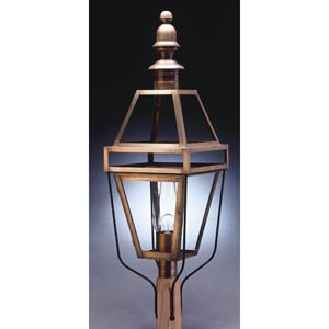 Boston Antique Brass One-Light Outdoor Post Light with Clear Glass