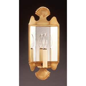 Antique Brass Fan Motif Mirrored Wall Sconce