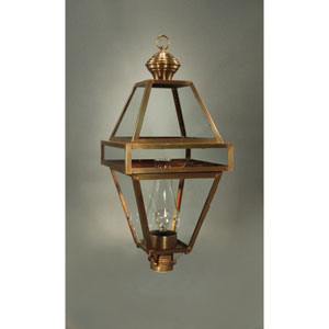 Boston Antique Brass One-Light 14-Inch Outdoor Post Mount with Chimney Clear Glass
