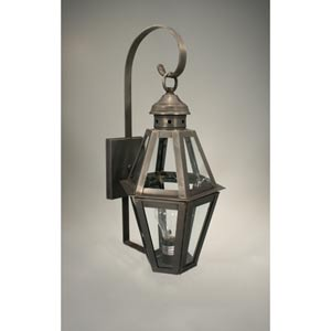 Boston Dark Brass One-Light Outdoor Wall Light with Clear Glass