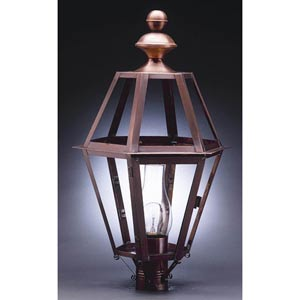 Boston Antique Copper One-Light Outdoor Post Light with Clear Glass
