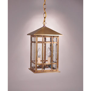 Sierra Antique Brass Two-Light Outdoor Pendant with Clear Seedy Glass