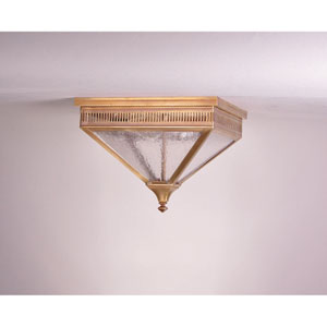 Elryan Antique Brass Two-Light 13-Inch Outdoor Flush Mount with Seedy Marine Glass