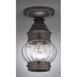 Onion Dark Antique Brass One-Light Outdoor Flush Mount with Optic Glass