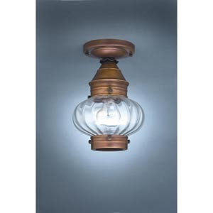 Onion Dark Antique Brass One-Light Outdoor Flush Mount with Optic Glass