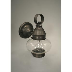 Onion Dark Brass One-Light Outdoor Wall Light with Clear Glass