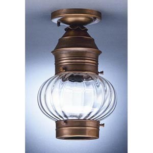 Onion Verdi Gris One-Light Outdoor Flush Mount with Optic Glass