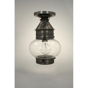Onion Antique Brass One-Light Outdoor Flush Mount with Clear Glass