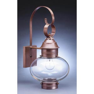 Onion Antique Copper One-Light Outdoor Wall Light with Clear Glass