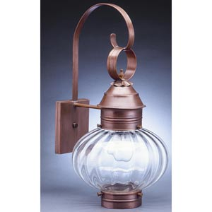 Onion Antique Copper One-Light Outdoor Wall Light with Optic Glass