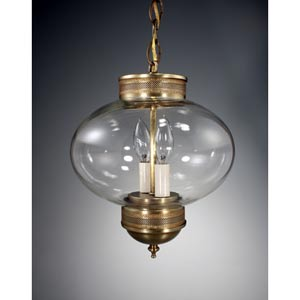 Onion Antique Brass Two-Light Outdoor Pendant with Clear Glass