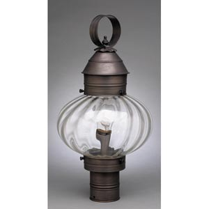 Onion Dark Brass One-Light Outdoor Post Light with Optic Glass