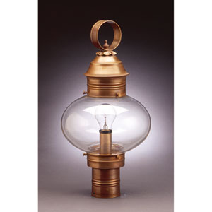 Onion Antique Brass One-Light 10-Inch Outdoor Post Mount with Clear Glass