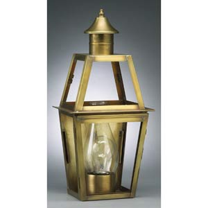Small Antique Brass Tapered Outdoor Wall Lantern