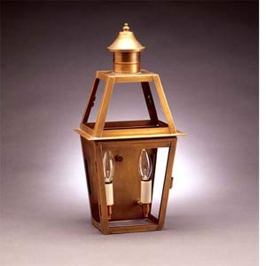 Small Antique Brass Dual Candle Outdoor Lantern