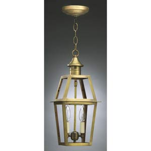 Antique Brass Dual Candle Outdoor Hanging Lantern