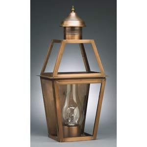 Medium Antique Copper Outdoor Wall Lantern with Seedy Marine Glass