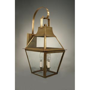 Uxbridge Antique Copper Three-Light Outdoor Wall Light with Clear Glass