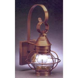 Small Dark Antique Brass Caged Onion Outdoor Wall Lantern