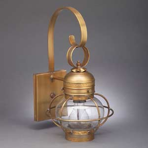 Small Antique Brass Onion Outdoor Wall Lantern