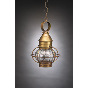Onion Antique Brass One-Light Caged Outdoor Pendant with Optic Glass