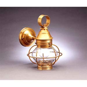 Small Antique Brass Caged Onion Outdoor Wall Lantern