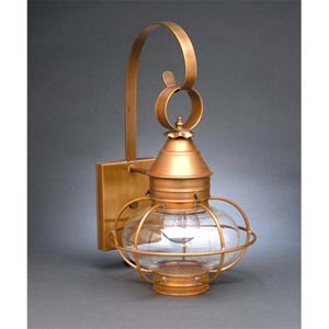 Antique Copper Clear Seedy Onion Wall Lantern