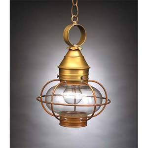 Small Antique Brass Caged Onion Outdoor Hanging Lantern