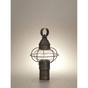 Onion Dark Brass 9-Inch One-Light Outdoor Post Mount with Clear Glass