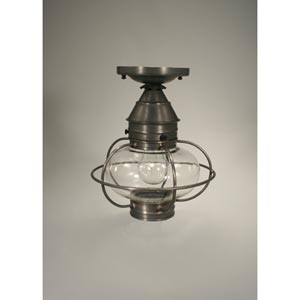 Onion Dark Brass One-Light Outdoor Flush Mount with Clear Glass