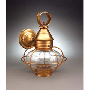 Small Antique Brass Wall Mounted Onion Lantern