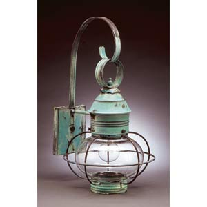 Medium Verdi Gris Caged Onion Outdoor Wall Lantern