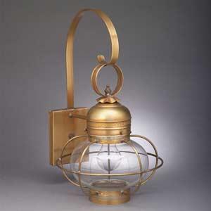 Medium Antique Brass Caged Onion Outdoor Wall Lantern