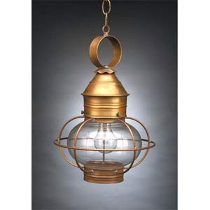 Medium Antique Brass Hanging Onion Lantern