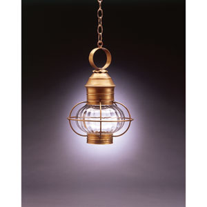 Onion Antique Brass One-Light 10-Inch Outdoor Pendant with Optic Glass