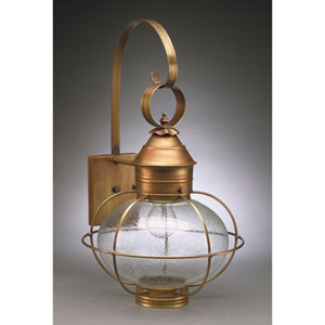 Onion Antique Brass 12-Inch One-Light Outdoor Wall Sconce with Clear Seedy Glass