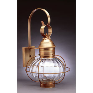 Onion Antique Brass 12-Inch One-Light Outdoor Wall Sconce with Optic Glass