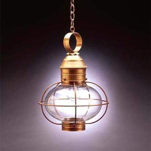 Antique Brass Clear 17-Inch Hanging Onion Lantern