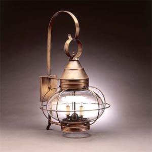Dark Antique Brass Caged Onion Outdoor Wall Lantern