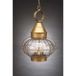 Onion Antique Brass Two-Light Outdoor Pendant with Optic Glass