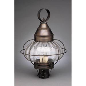 Onion Dark Brass Three-Light 14-Inch Outdoor Post Mount with Optic Glass
