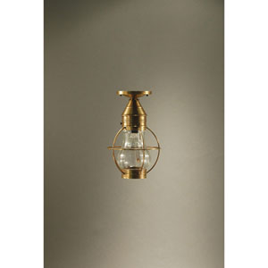 Bosc Antique Brass 9-Inch One-Light Semi Flush Mount with Optic Glass
