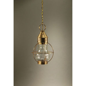 Bosc Antique Brass 11-Inch One-Light Pendant with Optic Glass