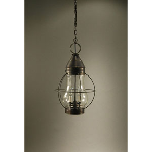 Bosc Dark Antique Brass 13-Inch Two-Light Pendant with Clear Glass