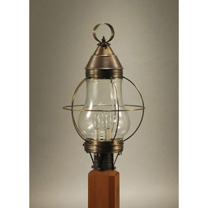 Bosc Dark Antique Brass 13-Inch Three-Light Outdoor Post Mount with Clear Glass