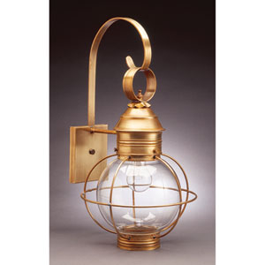 Onion Antique Brass One-Light Outdoor Wall Mount with Clear Glass